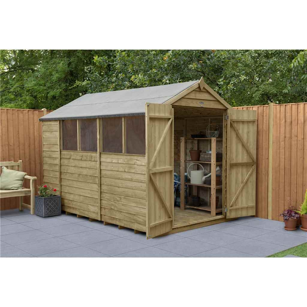 1024 #486822  Treated Overlap Apex Shed With Double Doors And 4 Windows Installed image Shed Doors And Windows 41331024