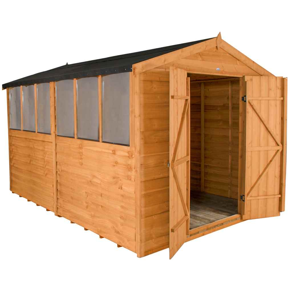 Shedswarehousecom Hanbury Installed 12ft X 8ft 37m X 26m Double Door Overlap Apex Wooden Garden Shed With Double Doors And 6 Windows