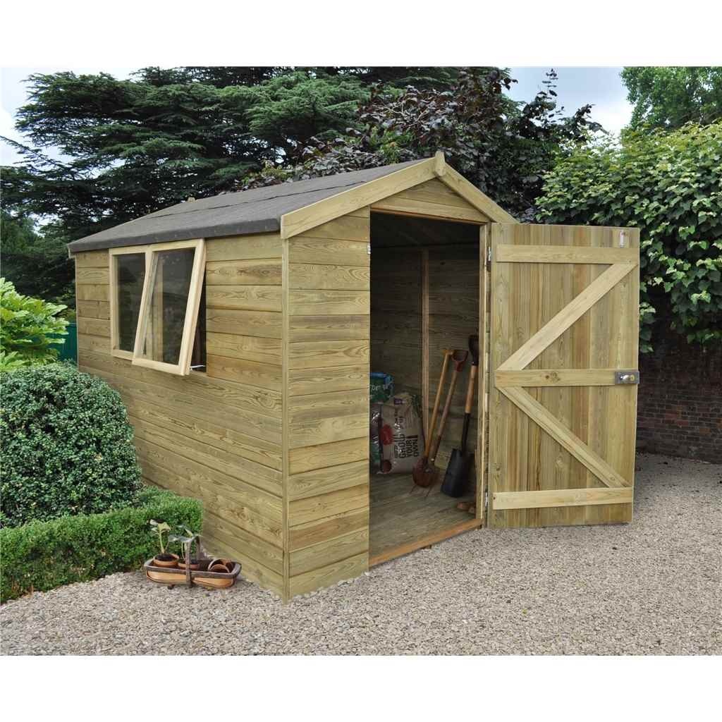 Shedswarehousecom Hanbury 8ft X 6ft 247m X 206m Pressure Treated Tongue And Groove Apex Wooden Shed With Single Door And 2 Windows