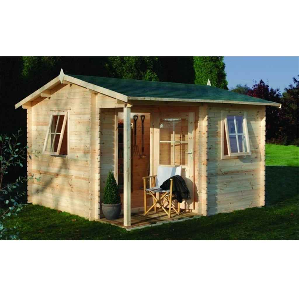 ShedsWarehouse com | Hanbury Log Cabins | 3 6m x 3 6m Log Cabin with  Integrated Porch and Double Doors (28mm Wall Thickness) **Includes Free