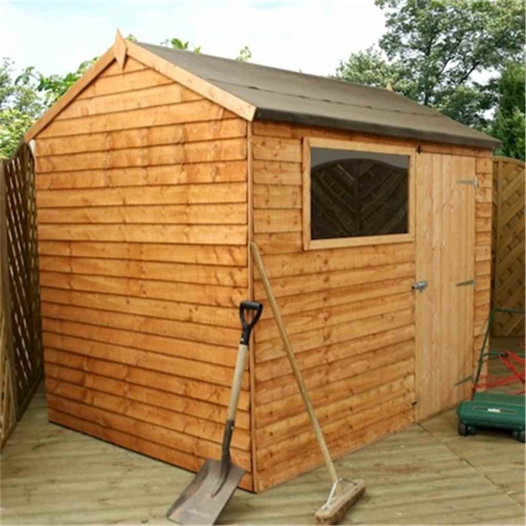 Shedswarehousecom Oxford Installed 6ft X 8ft 183m X 243m Reverse Overlap Apex Shed With Single Door 1 Window 10mm Solid Osb Floor