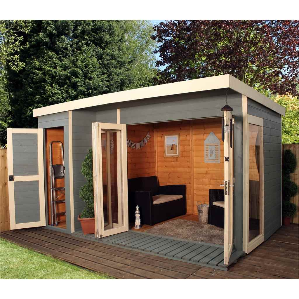 Shedswarehousecom Oxford Summerhouses Installed 12ft X 8ft 356m X 250m Contempory Gardenroom Large Combi 12mm Tg Floor Roof Includes