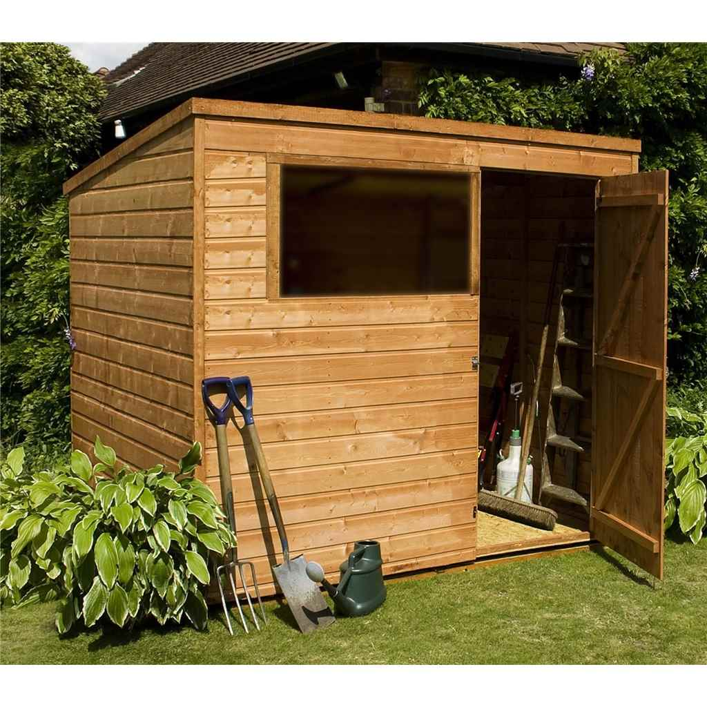 Shedswarehousecom Oxford Installed 8ft X 6ft 243m X 183m Tongue Groove Pent Shed With Single Door 1 Window Solid 10mm Osb Floor