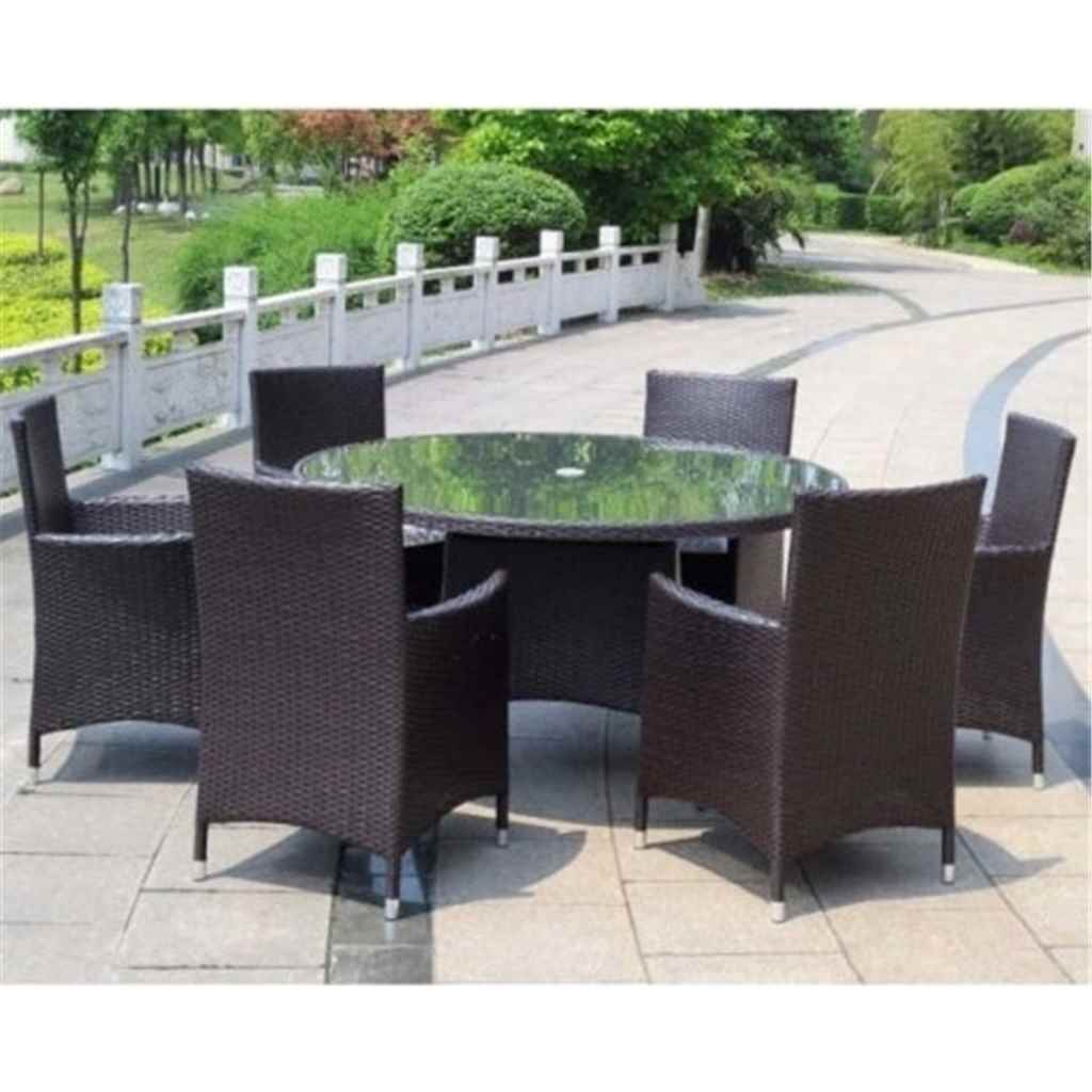 Garden furniture naples flat weave for 110cm round glass dining table