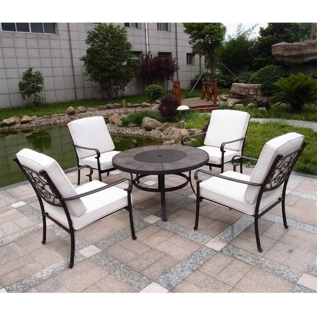 Shedswarehouse com garden furniture versailles cast aluminium 4 seater versailles firepit set 106cm firepit table with 4 lowback stacking chairs