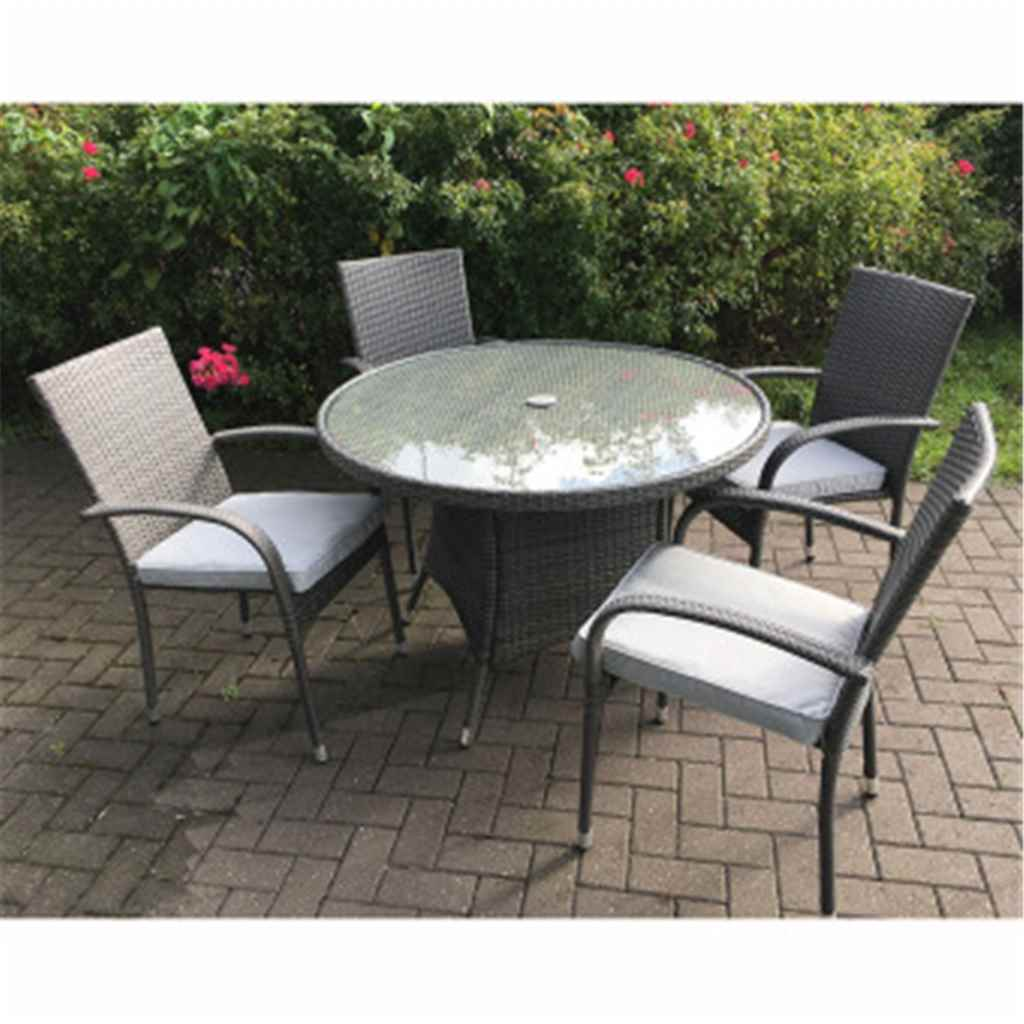 Shedswarehouse com garden furniture marlow flat weave slate grey 4 seater marlow bistro set 70cm glass top table with 2 stacking chairs mar002