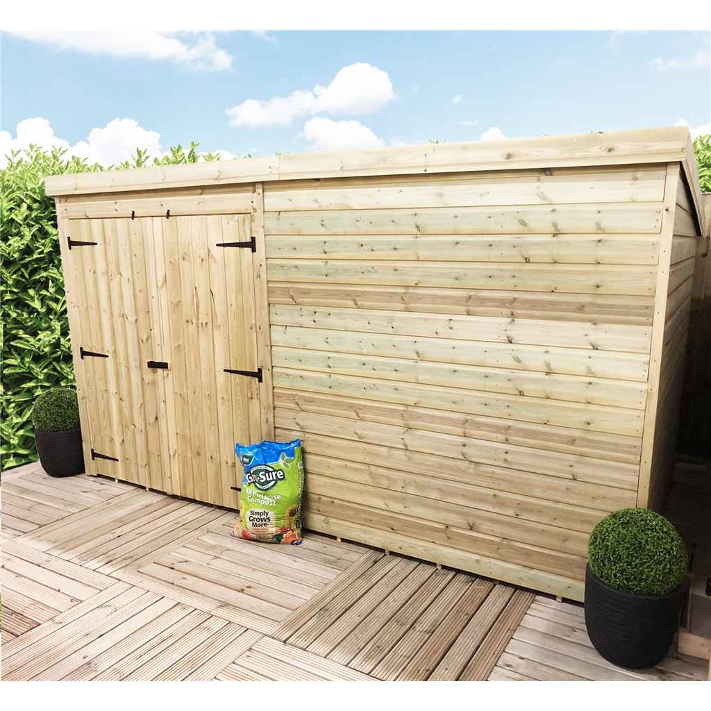ShedsWarehouse com | Aston Installed | INSTALLED 9FT x 3FT Windowless  Pressure Treated Tongue & Groove Pent Shed + Double Doors - INCLUDES