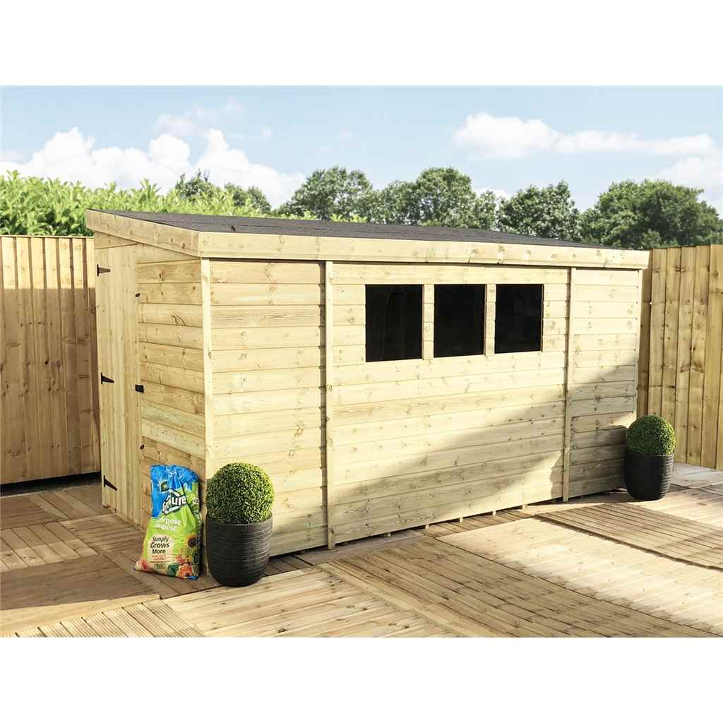 ShedsWarehouse com | Aston Installed | INSTALLED 9FT x 8FT Reverse Pressure  Treated Tongue & Groove Pent Shed + 3 Windows + Safety Toughened Glass +