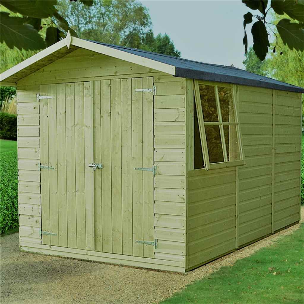 Shedswarehousecom Stowe Installed Installed 10ft X 7ft 299m X 215m Pressure Treated Tongue And Groove Apex Garden Wooden Shed Double