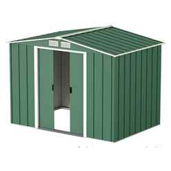 OOS - BACK W/C 31ST MAY 2021 - 8ft x 6ft Value Apex Metal Shed - Green (2.62m x 1.82m)