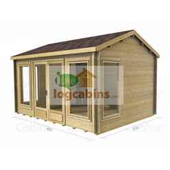 4.5m x 3.5m Premier Valmorel Log Cabin - Double Glazing - 34mm Wall Thickness