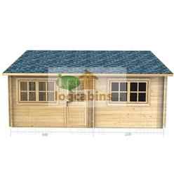 5.5m x 5.0m Premier Nendaz Log Cabin - Double Glazing - 70mm Wall Thickness