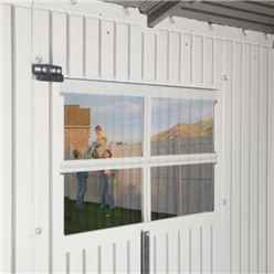 OOS - BACK JULY 2021 - 10ft x 8ft Life Plus Double Entrance Plastic Apex Shed With Plastic Floor + 2 Windows + 1 Opening Window (3.05m x 2.43m)