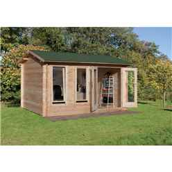 INSTALLED 4m x 3m Reverse Log Cabin with Double Glazing and Reverse Apex Roof (34mm Wall Thickness) **Includes Free Shingles** - INSTALLATION INCLUDED