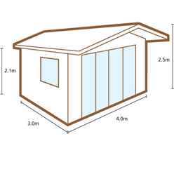 INSTALLED 4m x 3m Apex Log Cabin with Overhang and Large Front Windows (34mm Wall Thickness) **Includes Free Shingles** - INSTALLATION INCLUDED