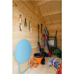 INSTALLED 4m x 2.8m Corner Log Cabin with Separate Storage Area (Door on Right) (34mm Wall Thickness) **Includes Free Shingles** - INSTALLATION INCLUDED