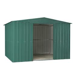 OOS - BACK MAY 2021 - 10ft x 12ft Premier EasyFix – Apex – Metal Shed - Heritage Green (3.07m x 3.71m)