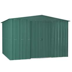 OOS - BACK W/C 28TH JUNE 2021 - 10ft x 12ft Premier EasyFix – Apex – Metal Shed - Heritage Green (3.07m x 3.71m)