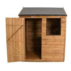 4ft x 6ft (1.3m x 1.8m) Reverse Apex Dip Treated Overlap Shed With Single Door and 1 Window - Modular - CORE