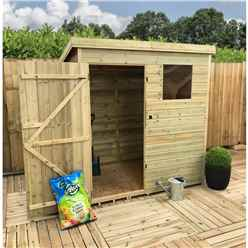 6FT x 5FT Pressure Treated Tongue & Groove Pent Shed With 1 Window + Single Door + Safety Toughened Glass