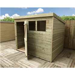 8FT x 6FT Pressure Treated Tongue & Groove Pent Shed Wtih 2 Windows + Single Door + Safety Toughened Glass