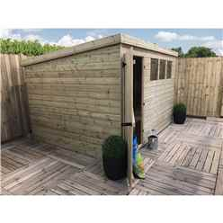 10FT x 6FT Pressure Treated Tongue & Groove Pent Shed With 3 Windows + Single Door + Safety Toughened Glass