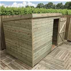 8FT x 6FT Windowless Pressure Treated Tongue & Groove Pent Shed + Single Door