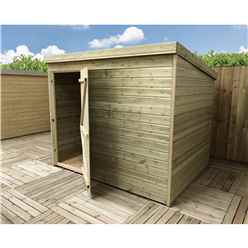 8FT x 8FT Windowless Pressure Treated Tongue & Groove Pent Shed + Single Door