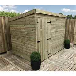 7FT x 7FT Windowless Pressure Treated Tongue & Groove Pent Shed + Single Door