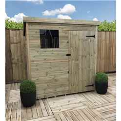 5FT x 4FT Pressure Treated Tongue & Groove Pent Shed With 1 Window + Single Door + Safety Toughened Glass