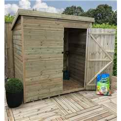 5FT x 5FT Windowless Pressure Treated Tongue & Groove Pent Shed + Single Door