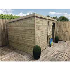 10FT x 3FT Windowless Pressure Treated Tongue & Groove Pent Shed + Single Door