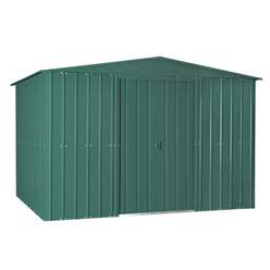 OOS - BACK AUGUST 2021 - 10ft x 8ft Premier EasyFix – Apex – Metal Shed - Heritage Green (3.07m x 2.47m)