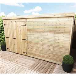 12FT x 8FT Windowless Pressure Treated Tongue & Groove Pent Shed + Double Doors