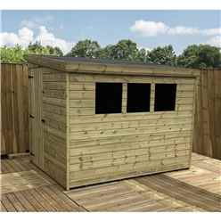 8FT x 7FT Reverse Pressure Treated Tongue & Groove Pent Shed + 3 Windows And Single Door + Safety Toughened Glass  (Please Select Left Or Right Panel for Door)