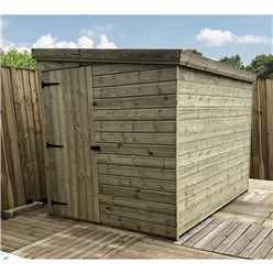7FT x 4FT Windowless Pressure Treated Tongue & Groove Pent Shed + Side Door