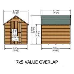 ** FLASH REDUCTION** 7ft x 5ft  (2.05m x 1.62m) - Super Value Overlap - Apex Wooden Garden Shed - Windowless - Single Door - 10mm Solid OSB Floor