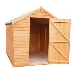 ** IN STOCK LIVE BOOKING ** **FLASH REDUCTION** 8ft x 6ft  (2.39m x 1.83m) - Super Value Overlap - Apex Wooden Garden Shed - Windowless - Single Door - 10mm Solid OSB Floor - CORE