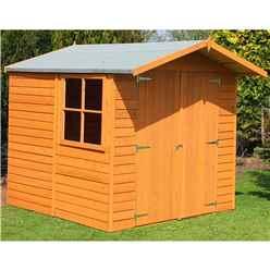 7ft x 7ft  (1.98m x 2.04m) - Dip Treated Overlap - Apex Garden Shed - 1 Opening Window - Double Doors - 10mm Solid OSB Floor - CORE (BS)
