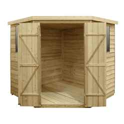 INSTALLED 7ft x 7ft (2.9m x 2.3m) Pressure Treated Overlap Corner Shed With Double Doors and 2 Windows - INSTALLATION INCLUDED