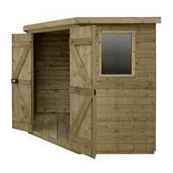 7ft x 7ft (2.96m x 2.30m) Tongue & Groove Pressure Treated Corner Shed With Double Doors and 2 Windows - CORE (BS)