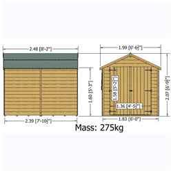8ft x 6ft (2.39m x 1.82m) - Dip Treated Overlap -  Apex Garden Shed - Windowless - Double Doors - 10mm Solid OSB Floor