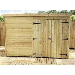9FT x 3FT Windowless Pressure Treated Tongue & Groove Pent Shed + Double Doors