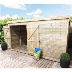 12FT x 3FT Windowless Pressure Treated Tongue & Groove Pent Shed + Double Doors