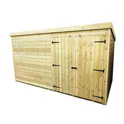 14FT x 3FT Windowless Pressure Treated Tongue & Groove Pent Shed + Double Doors