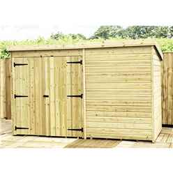 9FT x 4FT Windowless Pressure Treated Tongue & Groove Pent Shed + Double Doors