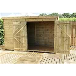 9FT x 7FT Windowless Pressure Treated Tongue & Groove Pent Shed + Double Doors