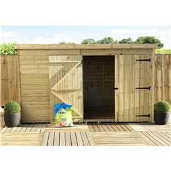10FT x 4FT Windowless Pressure Treated Tongue & Groove Pent Shed + Double Doors