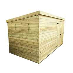 14FT x 4FT Windowless Pressure Treated Tongue & Groove Pent Shed + Double Doors