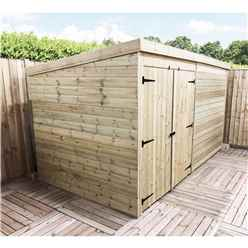 14FT x 7FT Windowless Pressure Treated Tongue & Groove Pent Shed + Double Doors